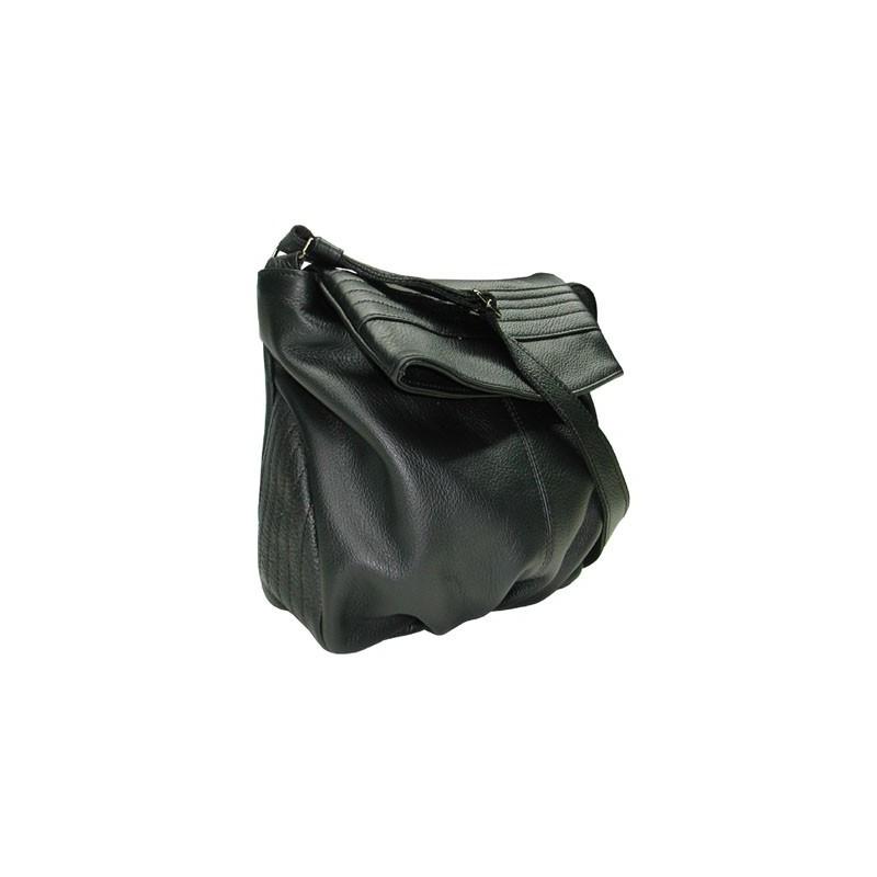 639015fc3 Bolso bandolera mujer negro en piel vacuno de alta calidad, textura fina y  suave, ligero!